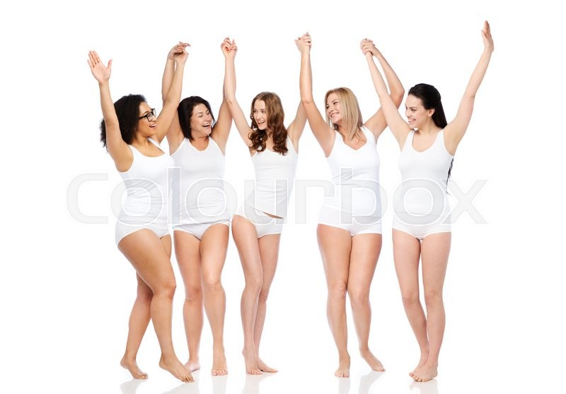 Stock image of 'happiness, friendship, beauty, body positive and people concept - group of happy different women in white underwear with raised arms celebrating victory'