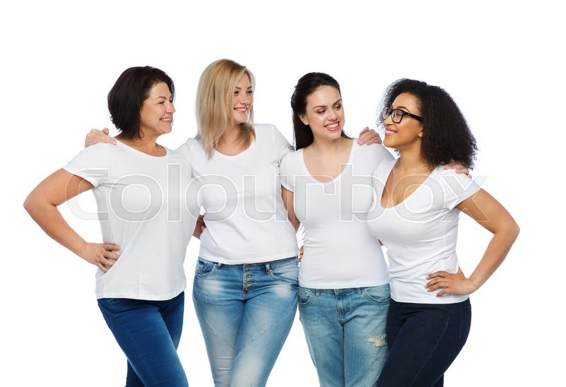 Stock image of 'friendship, diverse, body positive, communication and people concept - group of happy different size women in white t-shirts hugging and talking'