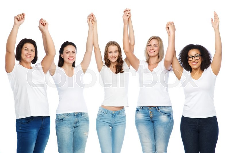 Stock image of 'friendship, diverse, body positive and people concept - group of happy different size women in white t-shirts holding hands up'