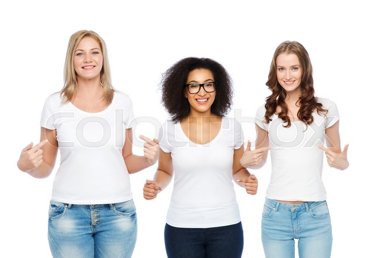 Stock image of 'friendship, diverse, body positive and people concept - group of happy different size women in white t-shirts pointing finger to themselves'