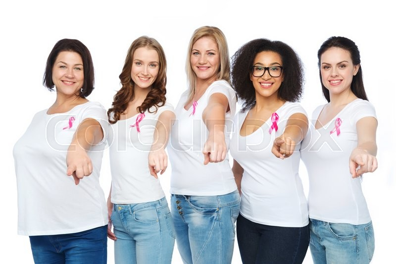 Stock image of 'diverse, healthcare and people concept - group of happy different size women in white t-shirts with pink breast cancer awareness ribbon'