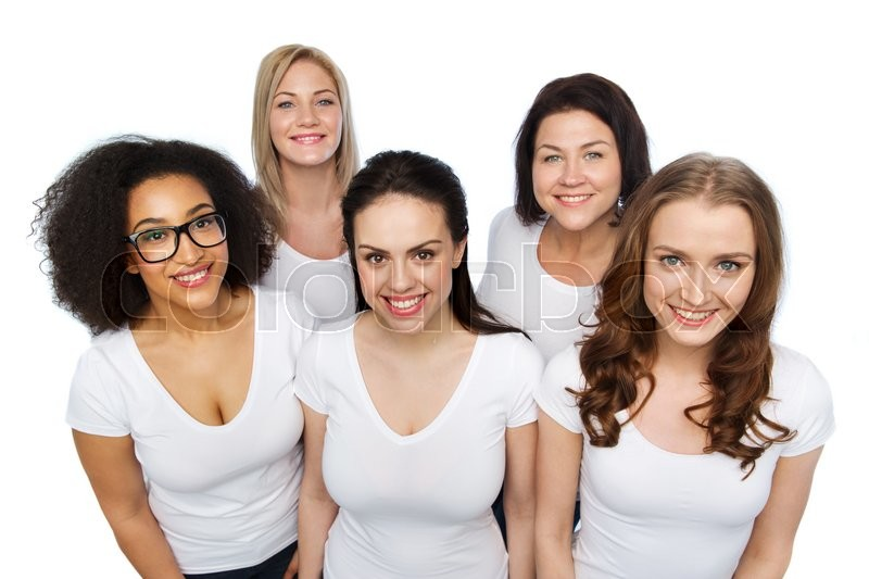 Stock image of 'friendship, diverse, body positive and people concept - group of happy different size women in white t-shirts'