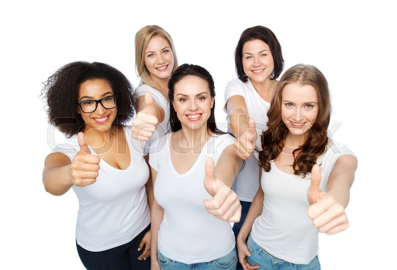 Stock image of 'friendship, diverse, body positive, gesture and people concept - group of happy different size women in white t-shirts showing thumbs up'
