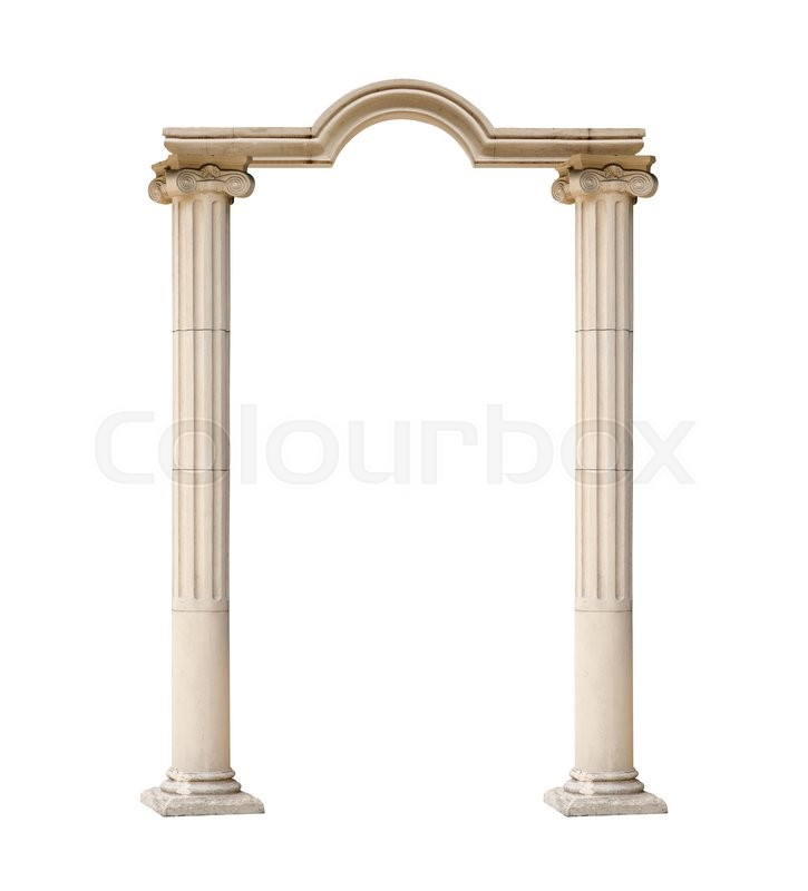 Stock image of 'classical architectural arch isolated on white background.'