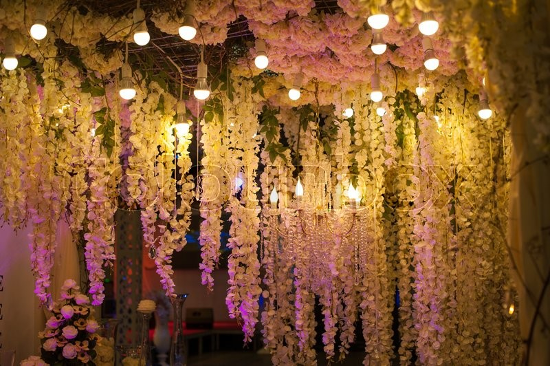 Stock image of 'Luxury beautiful decor evening with lights for wedding.'