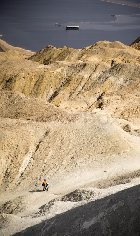Stock image of 'Hiking in stone desert near dead sea of Israel'