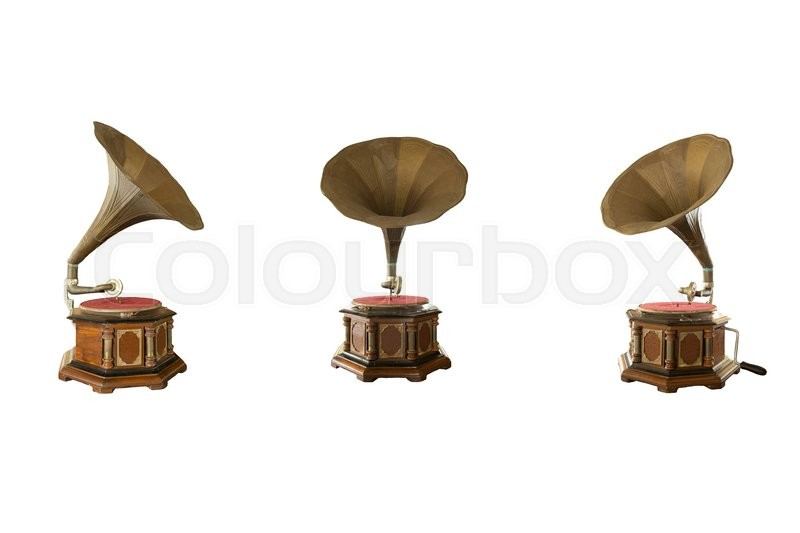 Stock image of 'Retro classic gramophone for playing music isolated on white background'