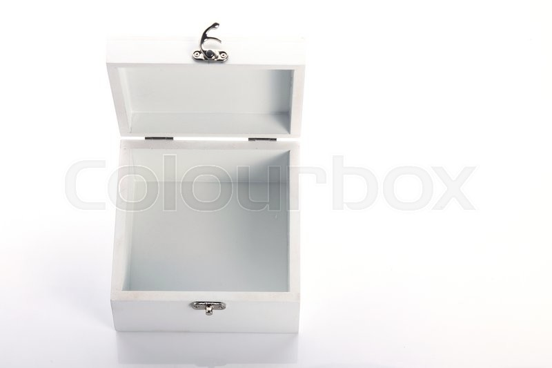 Stock image of 'White wood box open of the product packaging'