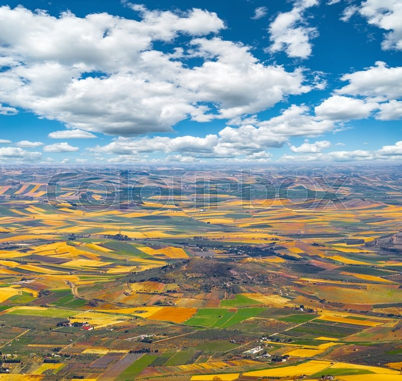 Stock image of 'Aerial view of the countryside. Sicily. Italy.'