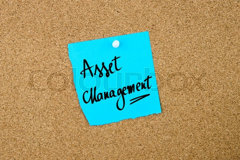 Stock image of 'Asset Management written on blue paper note pinned on cork board with white thumbtacks, copy space available'