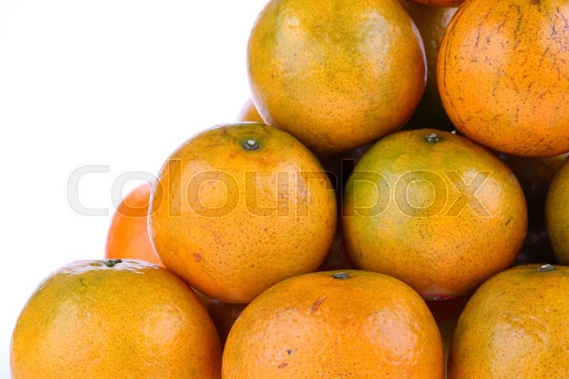 Stock image of 'Oranges fruit tropical isolated on white background'