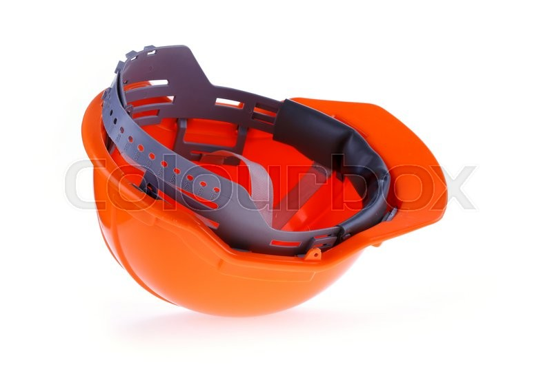 Stock image of 'Orange safety helmet hard hat, tool protect worker of danger in construction industry, isolated on white background'