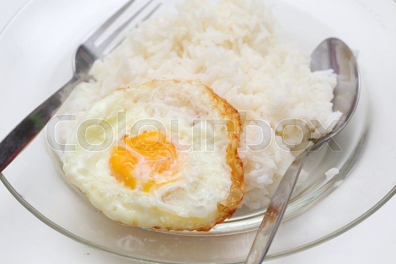 Stock image of 'rice and fried eggs of easy breakfast cooking '