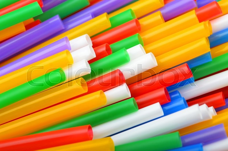 Stock image of 'Colorful plastic drinking straws, close up as background'