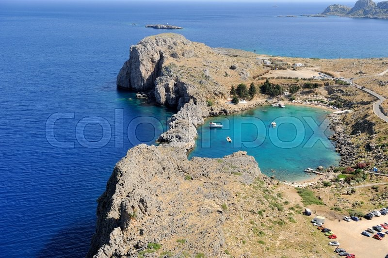 Stock image of 'Saint Paul Bay from Lindos Rhodes island, Greece.'
