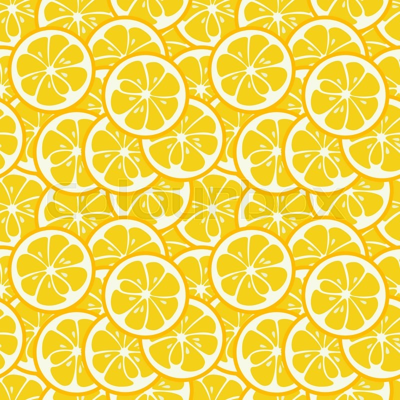 Stock image of 'Cute seamless pattern with yellow lemon slices. Tasty summer background. Yummy tropical fruits endless texture. Can be used for wallpapers, banners, posters. Delicious healthy fruits. illustration'
