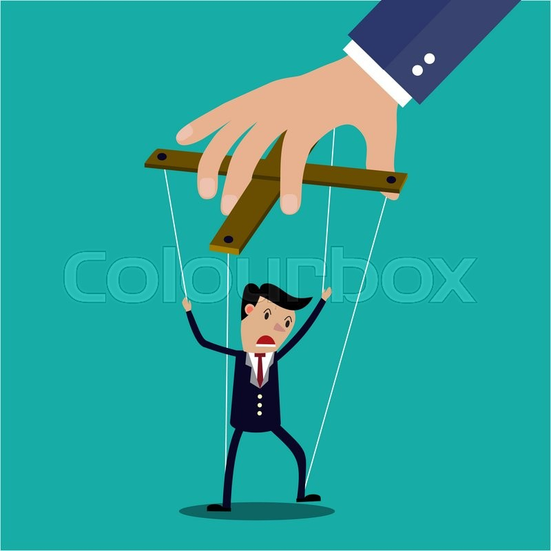 Stock image of 'Cartoon Businessman marionette on ropes controlled by hand, illustration in flat design on green background Raster version. '