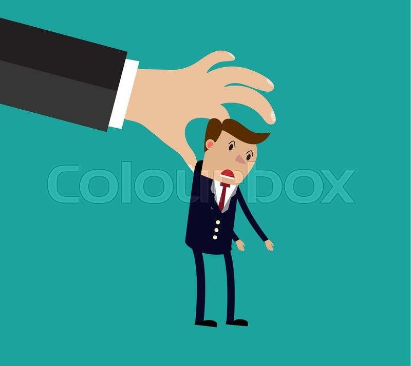 Stock image of 'Big hand holding businessman. illustration in flat design on green background Raster version. '