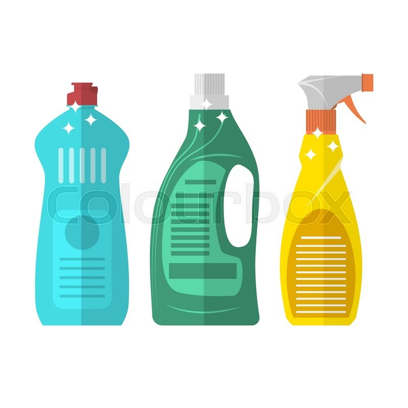 Stock image of 'Household chemistry cleaning three plastic bottles, household cleaning container design. Domestic spray washing handle equipment. flat illustration isolated on white background.  Raster version. '