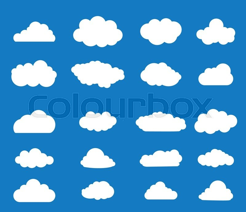 Stock image of 'Set of blue sky, clouds. Cloud icon. illustration Raster version. '