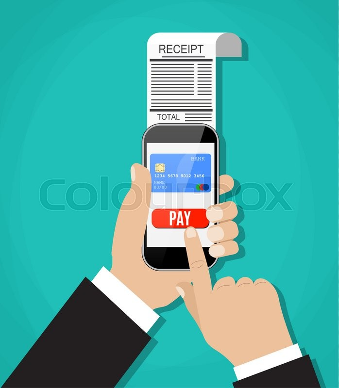Stock image of 'Mobile banking or shopping concept. cartoon hands with smart phone and paycheck receipt. Flat design, illustration in flat design on green background Raster version. '