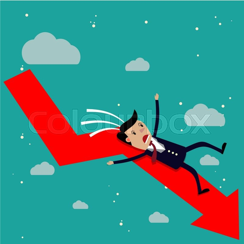 Stock image of 'cartoon businessman falling from the red chart arrow. Loser, broke concept. illustration in flat design on green background Raster version. '