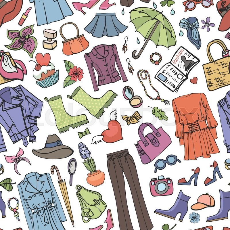 Vector Hand Drawing Womens Clothingdoodle Sketch BackgroundWomen WearColored Elements For Spring SeasonFashion Illustrationwallpaper