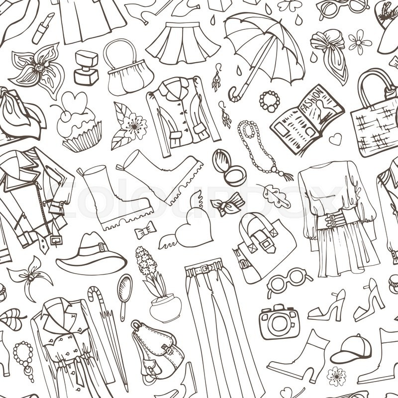 Vector Hand Drawing Womens Clothingdoodle Sketch BackgroundWomen WearOutline Elements For Spring SeasonFashion Illustrationwallpaper