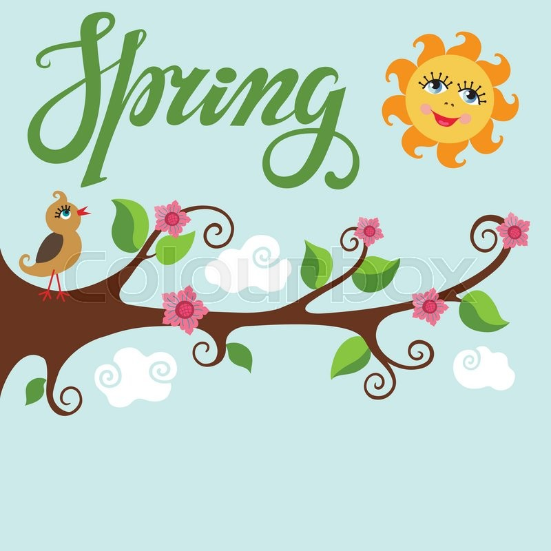 spring time poster vector cartoon bird on tree blooming flowers tree rh colourbox com spring season cartoon pictures spring cartoon images