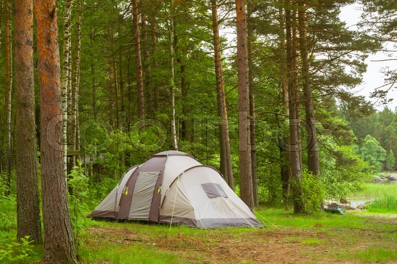 Stock image of 'HAMINA, FINLAND - JUNE 13, 2014: Summer outdoor recreation, Scandinavian vacation. Camping tent in a wooded campsite among pine trees. Finnish Gulf. Area for camp in woods. Hamina, Finland, Suomi'