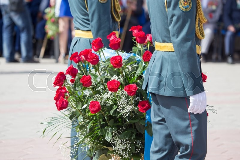 Editorial image of 'Shymkent, KAZAKHSTAN May 8, 2016: Soldiers of the Kazakh Army .Den Victory in memory of the soldiers of the Great Patriotic War. Victory Day celebration in the city of Shymkent, Kazakhstan, May 8, 2016'