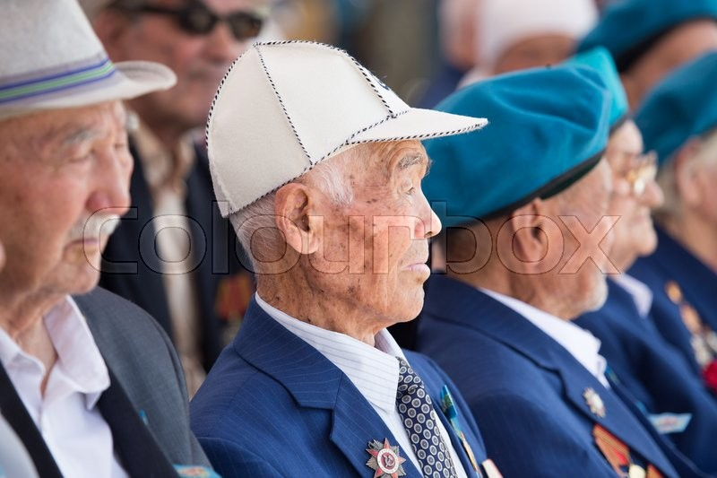 Editorial image of 'SHYMKENT city, KAZAKHSTAN MAY 8, 2016: Veterans of War. Victory Day. The memory of soldiers of the Great Patriotic War. Victory Day celebration in the city of Shymkent, Kazakhstan May 8, 2016'
