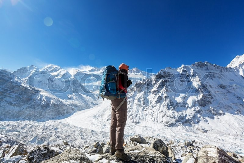 Stock image of 'Climber in Himalayan mountain'