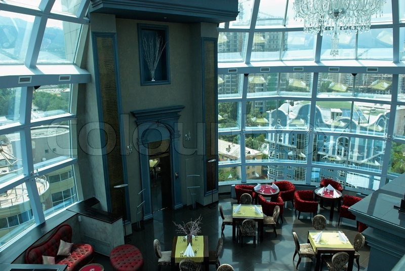 Interior of the restaurant under glass dome stock photo