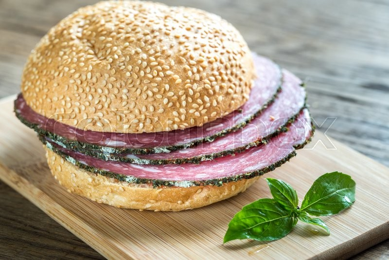 Stock image of 'Sandwich with salami'