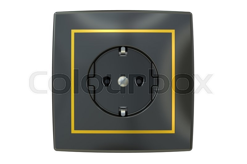 Stock image of 'Black electric socket, 3D rendering isolated on white background'
