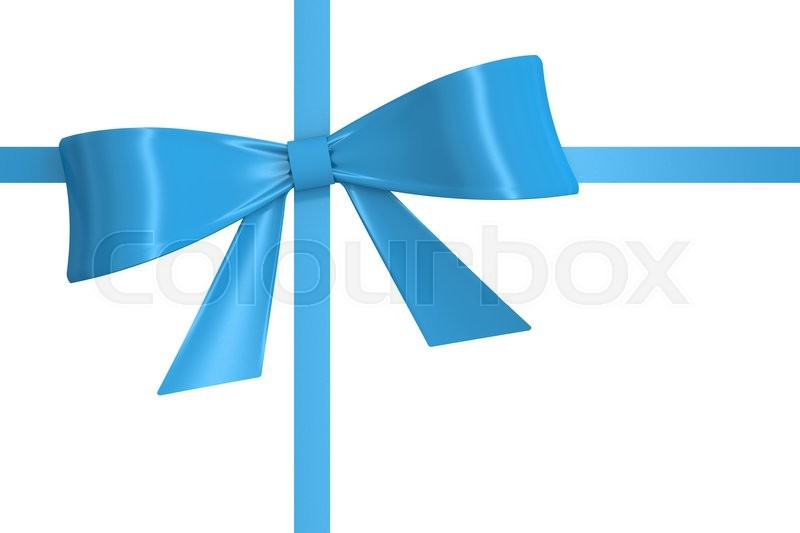 Stock image of 'blue bow and ribbon, 3D rendering isolated on white background'