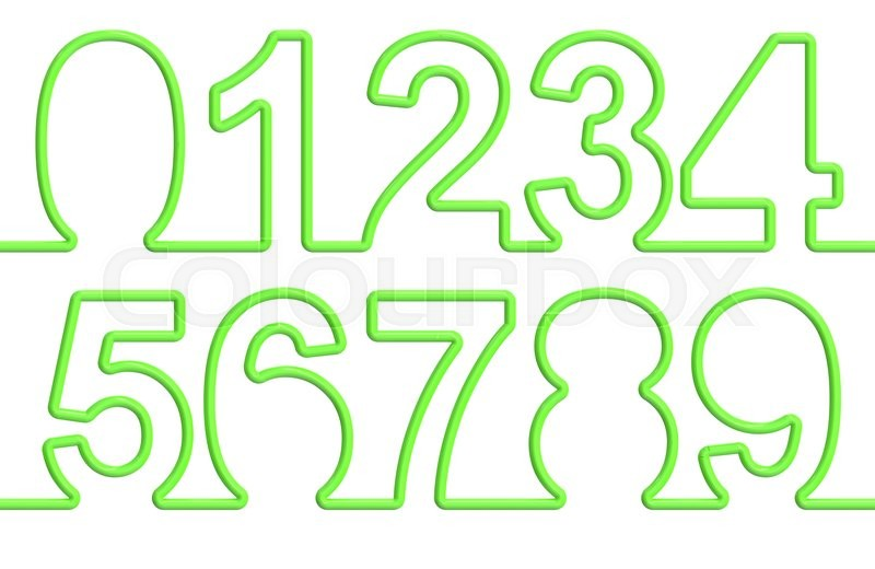 Stock image of 'set of numbers from single-line font. 3D rendering isolated on white background'