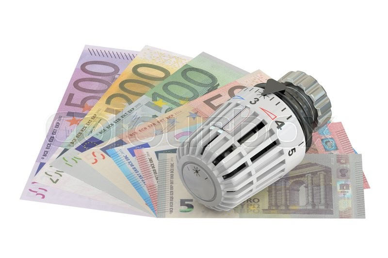 Stock image of 'Energy saving concept with thermostat and money,  3D rendering'