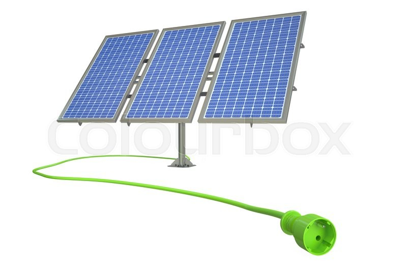 Stock image of 'Solar power alternative energy concept. 3D rendering'