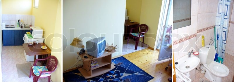 Apartments of hotel of boarding house near sea coast. Kitchen, a room of rest and a toilet, stock photo