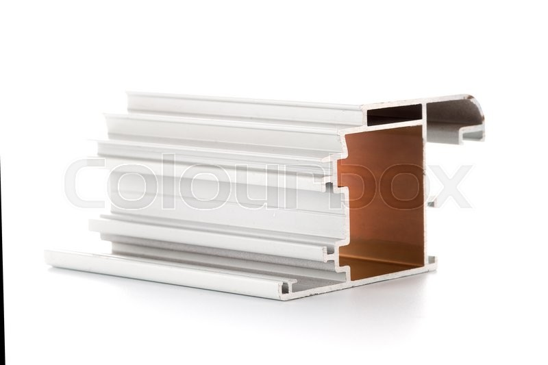 Stock image of 'Aluminium profile sample isolated on white background.'