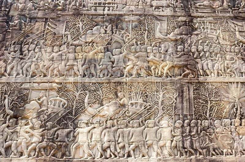 Stock image of 'A Bas-Relief Statue of Khmer Culture in Angkor Wat, Cambodia'