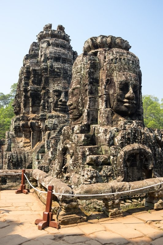 Stock image of 'Huge carved Buddha faces of Bayon temple at Angkor Wat complex, Siem Reap, Cambodia'