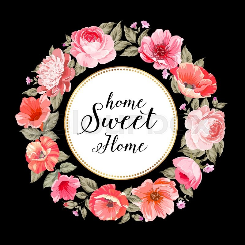Home sweet home flower garland for invitation card invitation card 800pxcolourbox18996131g mightylinksfo