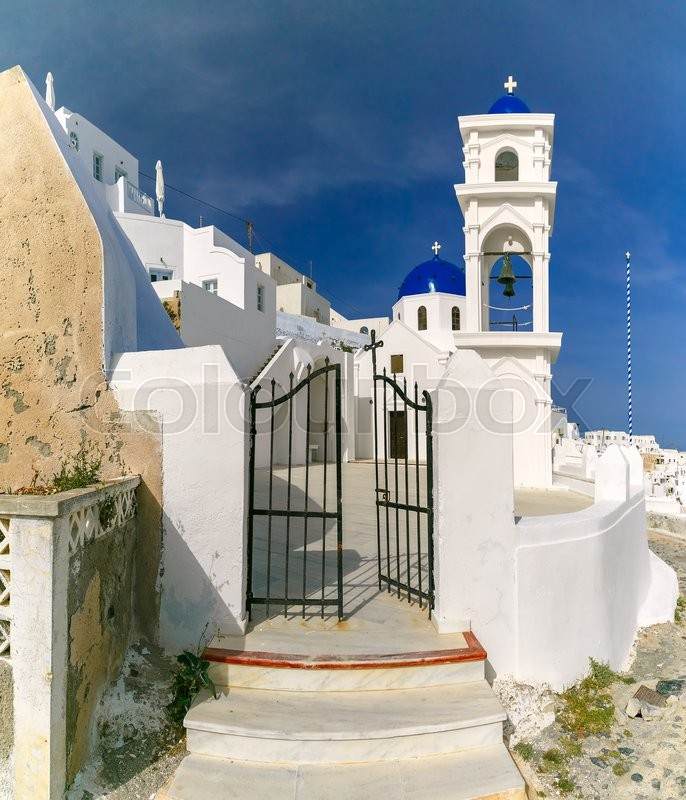Stock image of 'Imerovigli Anastasi Church of the Greek Aegean island, Santorini, in the sunny day, Greece'