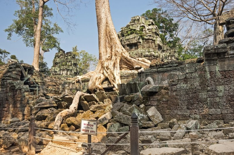 Stock image of 'Tree roots growing through the ruins of Ta Prohm Temple at Angkor Wat in Cambodia'