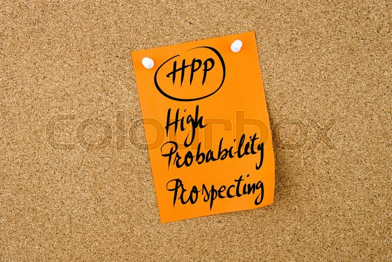 Stock image of 'Business Acronym HPP High Probability Prospecting written on  orange paper note pinned on cork board with white thumbtack, copy space available'