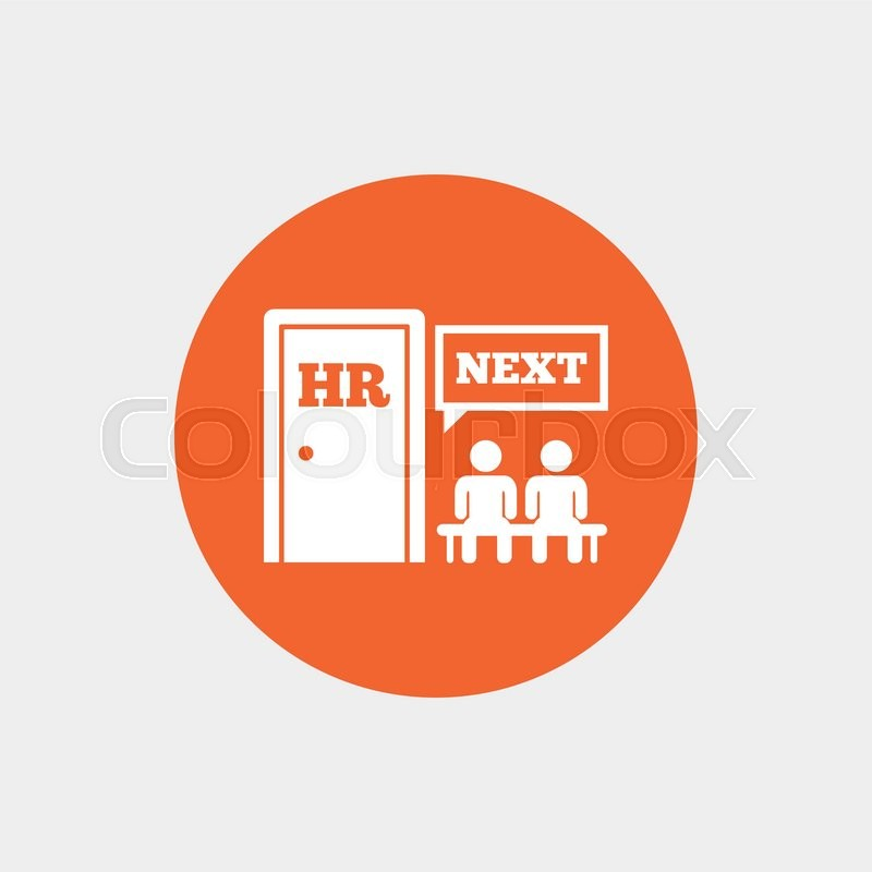 Human resources sign icon queue at the hr door symbol workforce of queue at the hr door symbol workforce of business organization orange circle button with icon vector stock vector colourbox ccuart Images