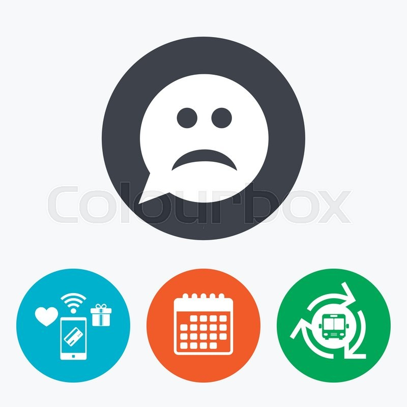 Sad Face Sign Icon Sadness Depression Chat Symbol Speech Bubble